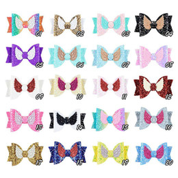 $enCountryForm.capitalKeyWord Australia - Cute Angle Wing Hair Clip Sequins Glitter Hair Bows Sparkly Gilrs Hairpin PU leather Barrettes Children Kids Hairpins Hair Accessories