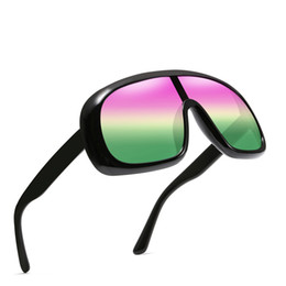 12b569375cd 2019 Fashion Big Frame Sunglasses Cool One Piece Reflective Sunglasses Sand  Control High Clear Ocean Color Trend Dazzle Colour