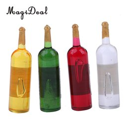 Wholesale 4Pcs Set Miniature Beer Wine Bottles Foods Dollhouse Kitchen Life Scenes Decoration Accessories Pattern