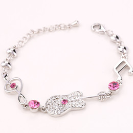 Ladies Wrist Chain Australia - Top Quality Fashion Music Note and Guitar Wrist Jewellery Accessories Ladies Jewellery Bracelets Made with Swarovski Elements Crystal