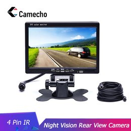 Wholesale Camecho DC V V inch TFT LCD Car Monitor Display Pin IR Night Vision Rear View Camera for Bus Houseboat Truck RV