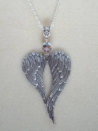 $enCountryForm.capitalKeyWord Australia - Large Guardian Angel Wings Necklace Pendants Glass Bead Vintage Silver Charms Choker Collar Statement Necklace Feather For Women Jewelry