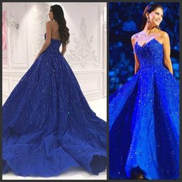 $enCountryForm.capitalKeyWord NZ - Charming Blue Prom Dresses Sweetheart Beads Sequins Women Formal Evening Dresses Sweep Train Glamorous 2019 New Arrive Cocktail Party Gowns