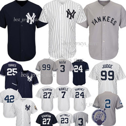 19f9adc3b9d1 99 Aaron Judge New York jerseys Yankees 25 Torres 2 Jeter 27 GS 24 Sanchez jerseys  3 Ruth 7 Mantle El jersey más vendido