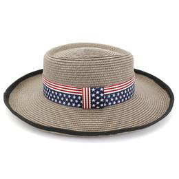 $enCountryForm.capitalKeyWord Australia - Leisure Outdoor Light Woman Ladies Flat Top Straw Hats with US Flag Ribbon Decoration Summer Wide Brim Beach Sun Cap Boater Hat