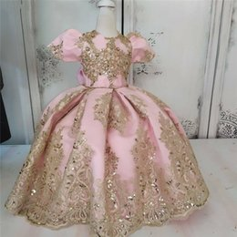 bubble wedding dresses UK - Princess Ball Gown Flower Girl Dresses Bubble Sleeves 2020 Shiny Gold Lace Appliques Girls Pageant Birthday First Communion Dress AL6423