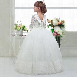 Discount elegant princess gowns for kids - Wedding Elegant First Communion Dresses for Girls Kids White Graduation Dresses Princess Holy Communion Dresses ytz227