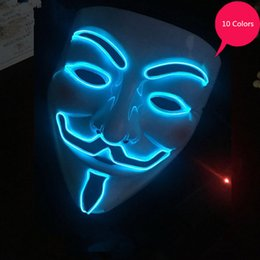 led for costume Australia - LED Party Masks V for Vendetta EL Mask Anonymous Guy Fawkes Fancy Adult Costume Accessory Party Cosplay masque Mask 10 Colors SH190922