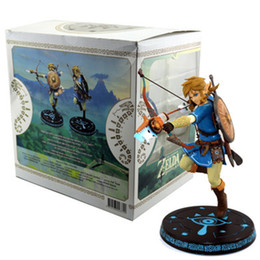Legend Zelda Figures UK - 10inch Anime Game The Legend of Zelda Breath of the Wild Link Statue PVC Action Figures toys Anime figure Toys For Kids children