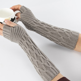 Long arm gLoves online shopping - Sparsil Women Fingerless Mittens Stripe Twist Solid Color Warm Knitted Long Glove Autumn Winter Arm Sleeves Wrist Protector cm