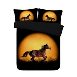 $enCountryForm.capitalKeyWord Australia - Black Orange Running Horses Bedding Set With 2 Pillow Shams Watercolor Bedspread Quilt Cover Moon Comforter Cover 3D Duvet Cover Set