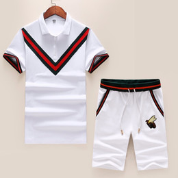 Hot Cotton Sportswear NZ - Summer 2019 high-end new cotton short-sleeved two-piece sportswear casual handsome hot sports suit personality men 3396