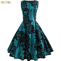 Wholesale swing sizes for sale – custom Floral Print Summer Dress Women Vintage Elegant Swing Rockabilly Party Dresses Plus Size Casual Midi Runway Tunic Ball Gown Dress