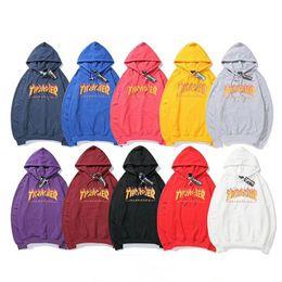 Red hoodie online shopping - Thrasher Hoodie Mens Designer Hoodies Fashion Men Women Casual Jacket Mens Autumn Hooded Hoodie Loose Sweatshirt Size S XXL