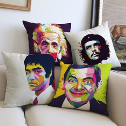 Discount cover pop art - Pop Art Style Lee Che Guevara Einstein Mr Bean Chaplin Great Man Celebrity Personage Pillow Case Home Decoration Cushion