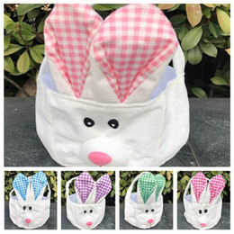decorate baskets NZ - Easter storage basket hand basket long ears plush Easter rabbit decorated small round basket Easter Gift Bag T2D5017