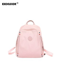 women colorful backpack Canada - EXCELSIOR Hot Sale Women's Backpack High Quality Canvas Girls School Bags New Arrival Colorful Solid Bag Great Temperament G2161