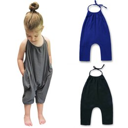 Discount tutus boutique - 2019 Baby Girls Strap Romper INS Solid color Sling sleeveless Jumpsuits Summer fashion Boutique Kids Climbing clothes C5