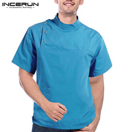 work uniforms wholesale UK - INCERUN Solid Color Men Shirt Breathable Short Sleeve Work Kitchen Chef Uniform Button Stand Collar Mens Workwear Tops S-5XL