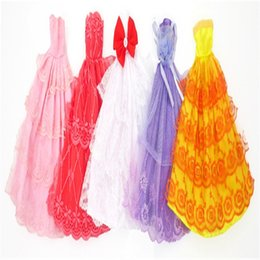 $enCountryForm.capitalKeyWord Australia - Handmade Clothes Dresses Princess Wedding Clothes Grows Outfit Doll Fashion for Barbie Kids Gift Multi Color 5pcs