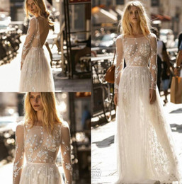 Gold applique weddinG Gown online shopping - Gali Karten A Line Wedding Dresses Scoop Neck Long Sleeve Lace Country Bridal Gowns Appliqued Sexy Backless Beach Boho Wedding Dress P2