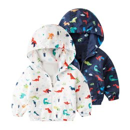 Wholesale Toddler Outerwear NZ - 2019 New Autumn Children Toddler Boy Girl Zipper Hoodie Sweatshirt Cartoon Dinosaur Pattern Trench Coat Outerwear