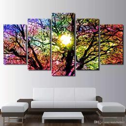 $enCountryForm.capitalKeyWord Australia - HD print 5 piece canvas pop art Colorful Sun Tree modern Modular pictures canvas wall art 2018 dropshipping
