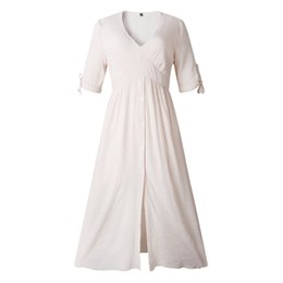 Fashion Trends Lace Dress Australia - Summer Fashion V-neck Button Lacing Front Slit Female Dress Long Skirt Fashion Female Style Popular Trend High Quality jooyoo