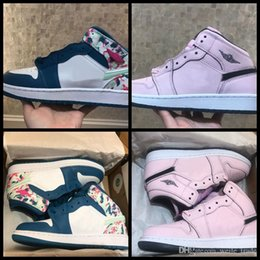 Women Athletic Air Shoes Australia - 2019 New 1 I Women Basketball Shoes pink blue Womens 1s Sports Sneakers womans Trainers Athletic Designer Chausseures air zapatos Eur 36-39