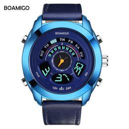 Mens Military Wrist Watches Australia - BOAMIGO Mens Watches Top Brand Luxury Fashion Quartz Digital Watch Men Genuine Leather Sports Military Wrist Watch Male Clock