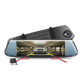 dual car dvr rear front UK - UNCOM DVR Dash Cam driving recorder front and rear dual lens night vision rearview mirror 7 inch 2.5D curved screen touch screen car