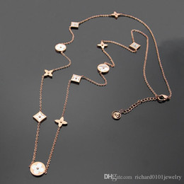 Longer Length Sweaters For Women Australia - Titanium steel Rose Gold long Necklace for women Length 97cm Europe and America white Shell four leaf flower sweater chain pendant necklace