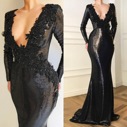 $enCountryForm.capitalKeyWord Australia - Long Sleeve Mermaid Prom Dresses 2019 V Neck Black Sequined Lace Appliqued Beads Evening Gowns Custom Made Formal Party Dress