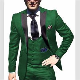 Tux Suits NZ - New Setwell Men's Suit Slim Fit 3 Piece Tuxedos Suits Jacket Tux Vest & Trousers Set for Wedding Formal Party Suits