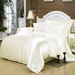 gray quilt sets NZ - Tencel four-piece solid color 100 silk satin sheets quilt cover bed nude sleeping ice silk 4 piece set bedding fitted sheet and flat sheet