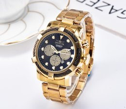 Wholesale Hot INVICTAS Casual Quartz Men s Watch DZ7333 Calendar Wire Dial Three Eyes Six Pins Folding Buckle