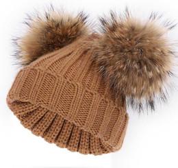 $enCountryForm.capitalKeyWord UK - Winter 15CM Real Raccoon Fur Knitted Hat Baby Boy Natural Fur Hats Kids Warm Crochet Stripe Knitted Cap Winter Beanie Hat