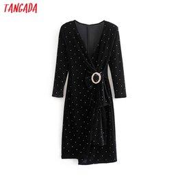 Ladies Long veLvet dress online shopping - Tangada women elegant sexy diamonds belt velvet dress long sleeve lady black party dresses vestidos H30