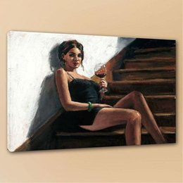 Red oil canvas online shopping - Canvas Art Girl with Red at Stairs Fabian Perez Handpainted HD Print Portrait Art Oil Painting on Canvas office culture Multi Sizes p180