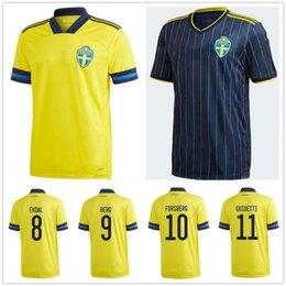 national soccer uniforms NZ - 2020 2021 Men + Kids Sweden National Team Soccer Jerseys IBRAHIMOVIC KALLSTROM LARSSON Home Away Football Shirt TOIVONEN MARCUS BERG Uniform