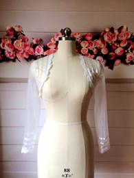 $enCountryForm.capitalKeyWord Australia - Real Photo Ivory Ribbon Lace dress with long sleeves Wedding Shrug Wedding woman jacket made measure Wedding Accessories