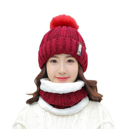 fcfd71eefe5 2Pcs set Winter Hats Scarf Women Knitted Letter B Ball Fleece Beanies Caps  Casual Beanies High Quality Warm Caps Scarves Ski Hat