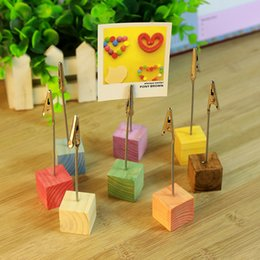 Halloween Place Card Holders Australia - Colorful Wooden Place Card Holder Wedding Favor Decoration Table Place Number Name Photo Card Holder Message Clip DHL Free Shipping