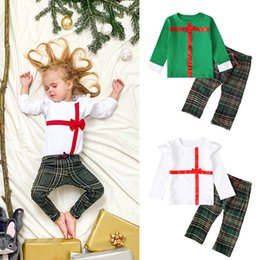 Flying o online shopping - Kids Set Boys And Girls Bow Long sleeved Small Flying Sleeves Shirt Plaid Pants Two piece INS Kids Fashion Clothing Sets