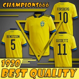 national soccer uniforms NZ - 19-20 Sweden Soccer Jersey IBRAHIMOVIC KALLSTROM LARSSON Football Jerseys National Team TOIVONEN MARCUS BERG Home Away Mens Shirts Uniforms