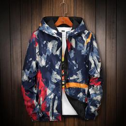 Wholesale camo parka resale online – 2020 Camouflage Reversible Jacket Men Plus Size XL Camo Hooded Windbreaker Jackets Coat Jacket Parka Streetwear