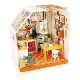 children kits NZ - Robotime DIY Miniature House Doll House Kits Dollhouse with Furniture Toys for Children Best Gift for Girls DG105 Y200413