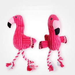 Discount plush dog rope toy - Flamingo Squeaky Chewing Toys plush Pet Dogs Puppy cartoon cute Rope Chewing Training Toys Pet Supplies FFA1507