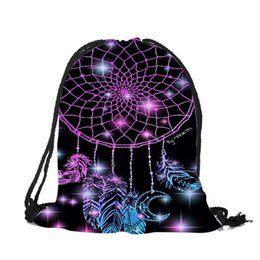 0512f9c27b65 3d Printing Dream Catcher Colorful Feathers Woman Drawstring Backpack Girls  Boys School Drawstring Bag Soft Polyester Bags
