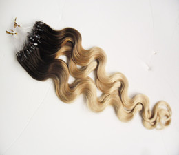 Hair Body Wave Machine Made Australia - Loop Micro Ring Machine Made Remy Hair Extension 100% Human Hair body wave Ombre Piano Color Micro Links 1B 613 to Bleach Blonde